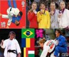Podio Judo femenino - 48 kg, Sarah Menezes (Brasil), Alina Dumitru (Rumania), Charline Van Snick (Bélgica), y Éva Csernoviczki (Hungría) - Londres 2012 -