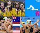 Podio Natación relevo 4 x 100 metros estilo libre femenino, Australia, Estados Unidos y Países Bajos - Londres 2012 -