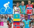 Podio ciclismo en ruta masculino, Alexandr Vinokurov (Kazajistán), Rigoberto Urán (Colombia) y Alexander Kristoff (Noruega) - Londres 2012 -