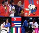 Podio Judo femenino - 52 kg, Kum Ae An (Corea del Norte), Yanet Bermoy Acosta (Cuba), Rosalba Forciniti (Italia) y Priscilla Gneto (Francia) - Londres 2012 -