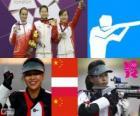 Podio tiro deportivo, rifle de aire 10 m femenino, Yi Siling (China), Sylwia Bogacka (Polonia) y Yu Dan (China)