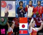 Podio Halterofilia 48 kg femenino, Wang Mingjuan (China), Hiromi Miyake (Japón) y Ryang Chun-Hwa (Corea del Norte) - Londres 2012 -