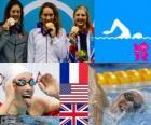 Podio natación 400 m libre femenino, Camille Muffat (Francia), Allison Schmitt (Estados Unidos) y Rebecca Adlington (Reino Unido) - Londres 2012 -