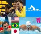 Podio natación 400 m 4 estilos masculino, Ryan Lochte (Estados Unidos), Thiago Pereira (Brasil) y Kosuke Hagino (Japón) - Londres 2012 -
