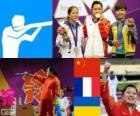 Podio Tiro deportivo, pistola de aire 10m femenino , Guo Wenjun (China), Céline Goberville (Francia) y Olena Kostevych (Ucrania) - Londres 2012 -