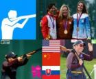 Podio Tiro Skeet femenino, Kim Rhode (Estados Unidos), Wei Ning (China) y Danka Barteková ( Eslovaquia) - Londres 2012 -