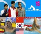 Podio natación 400 metros estilo libre masculino, Sun Yang (China), Park Tae-Hwan (Corea de Sur) y Peter Vanderkaay (Estados Unidos) - Londres 2012 -