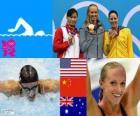Podio natación 100 metros estilo mariposa femenino, Dana Vollmer (Estados Unidos), Lu Ying (China) y Alicia Coutts (Australia) - Londres 2012 -