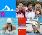Podio natación 400 metros combinado individual femenino, Ye Shiwen (China), Elizabeth Beisel (Estados Unidos) y Li Xuanxu (China) - Londres 2012