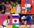 Podio Judo masculino - 60 kg, Arsen Galstian (Rusia), Hiroaki Hiraoka (Japón) y Felipe Kitadai (Brasil), Rishod Sobirov (Uzbekistán) - Londres 2012 -
