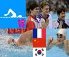 Podio natación 200 metros estilo libre masculino, Yannick Agnel (Francia), Sun Yang (China) y Park Tae-Hwan (Corea del Sur) - Londres 2012 -