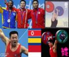 Podio Halterofilia 62 kg masculino, Kim Un-Guk (Corea del Norte), Óscar Figueroa (Colombia) y Irawan Eko Yuli (Indonesia) - Londres 2012 -