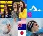 Podio natación 100 metros estilo espalda femenino, Missy Franklin (Estados Unidos), Emily Seebohm (Australia) y Aya Terakawa (Japón) - Londres 2012 -