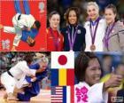 Podio Judo femenino - 57kg, Kaori Matsumoto (Japón), Corina Căprioriu (Rumania) y Marti Malloy (Estados Unidos), Automne Pavia (Francia) - Londres 2012 -