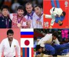 Podio Judo masculino - 73 kg, Mansur Isayev (Rusia), Riki Nakaya (Japón) y Nyam-Ochir Sainjargal (Mongolia), Ugo Legrand (Francia) - Londres 2012 -