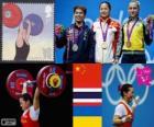 Podio halterofilia 58 kg femenino, Li Xueying (China), Pimsiri Sirikaew (Tailandia) y Yulia Kalina (Ucrania) - Londres 2012 -