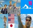 Podio natación 100 metros estilo espalda masculino, Matt Grevers, Nick Thoman (Estados Unidos) y Ryosuke Irie (Japón) - Londres 2012 -