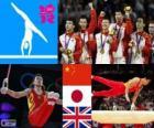Podio gimnasia artística masculina concurso completo por equipos, China, Japón y Reino Unido - Londres 2012 -