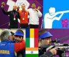 Podio tiro deportivo, rifle de aire 10 m masculino, Alin George Moldoveanu (Rumania), Niccolo Campriani (Italia) y Gagan Narang (India) - Londres 2012 -