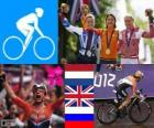 Podio ciclismo en ruta femenino, Marianne Vos (Países Bajos), Elizabeth Armitstead (Reino Unido) y Olga Zabelinskaya (Rusia) - Londres 2012 -