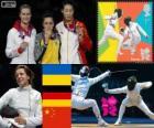Podio esgrima espada individual femenino, Yana Shemiakina (Ucrania), Britta Heidemann (Alemania) y Sun Yujie (China) - Londres 2012 -