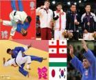 Podio Judo masculino - 66 kg, Lasha Shavdatuasvili (Georgia), Miklós Ungvári (Hungría) y Masashi Ebinuma (Japón), Cho Jun-Ho (Corea del Sur) - Londres 2012 -