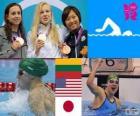 Podio natación 100 metros estilo braza femenino, Rūta Meilutytė (Lituania), Rebecca Soni (Estados Unidos) y Satomi Suzuki (Japón) - Londres 2012 -