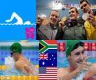 Podio natación 100 metros estilo braza masculino, Cameron van der Burgh (Sudáfrica), Christian Sprenger (Australia) y Brendan Hansen (Estados Unidos) - Londres 2012 -