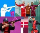 Podio Tiro Skeet masculino, Vincent Hancock (Estados Unidos), Anders Golding (Dinamarca) y Nasser Al-Attiyah (Catar) - Londres 2012-
