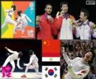 Podio esgrima florete individual masculino, Lei Sheng (China), Abuelkasem Alaaeldi (Egipto) y Choi Byung-Chul (Corea del Sur) - Londres 2012 -