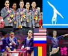 Podio gimnasia artística concurso completo por equipo femenino, Estados Unidos, Rusia y Rumanía - Londres 2012 -