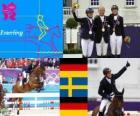 Podio Equitación concurso completo individual, Michael Jung (Alemania), Sara Algotsson Ostholt (Suecia) y Sandra Auffahrt (Alemania) - Londres 2012 -