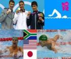 Podio natación 200 metros estilo mariposa masculino, Chad le Clos (Sudáfrica), Michael Phelps (Estados Unidos) y Takeshi Matsuda (Japón) - Londres 2012 -