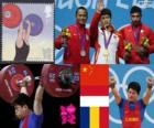 Podio Halterofilia 69 kg masculino, Lin Qingfeng (China), Triyatno Triyatno (Indonesia) y Constantin Martin (Rumania) - Londres 2012 -