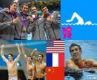 Podio natación relevo 4 x 200 metros estilo libre masculino, Estados Unidos, Francia y China - Londres 2012 -