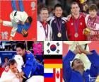Podio Judo masculino - 81 kg, Kim Jae-Bum (Corea del Sur), Ole Bischof (Alemania) y Ivan Nifontov (Rusia), Antoine Valois-Fortier (Canadá) - Londres 2012 -