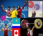 Podio Halterofilia 63 kg femenino, Maiya Maneza (Kazajistán), Svetlana Tsarukayeva (Rusia) y Christine Girard (Canadá) - Londres 2012 -