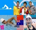 Podio natación 200 metros combinado individual femenino, Ye Shiwen (China), Alicia Coutts (Australia) y Caitlin Leverenz (Estados Unidos) - Londres 2012 -
