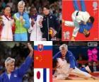 Podio Judo femenino- 63 kg, Urška Žolnir (Eslovenia), Xu Lili (China) y Gévrise Émane (Francia), Yoshie Ueno ( Japón) - Londres 2012 -