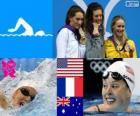 Podio natación 200 metros estilo libre femenino, Allison Schmitt (Estados Unidos), Camille Muffat (Francia) y Bronte Barratt (Australia) - Londres 2012 -