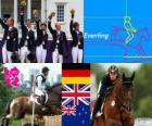 Podio Equitación concurso completo por equipos, Alemania, Reino Unido y Nueva Zelanda - Londres 2012 -