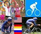 Podio ciclismo contrarreloj femenino, Kristin Armstrong (Estados Unidos), Judith Arndt (Alemania) y Olga Zabelinskaya (Rusia) - Londres 2012 -