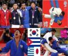 Podio Judo masculino - 90 kg, Song Dae-Nam (Corea del Sur), Asley González (Cuba) y Ilias Iliadis (Grecia), Masashi Nishiyama (Japón) - londres 2012 -