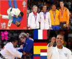 Podio Judo femenino - 70 kg, Lucie Décosse (Francia), Kerstin Thiele (Alemania) y Yuri Alvear (Colombia), Edith Bosch (Países Bajos) - Londres 2012 -