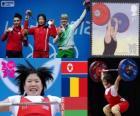 Podio Halterofilia 69 kg femenino, Rim Jong-Sim (Corea del Norte), Roxana Cocoş (Rumania) y Maryna Shkermankova (Bilorrusia) - Londres 2012 -