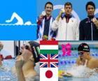 Podio natación 200 metros estilo braza masculino, Dániel Gyurta (Hungría), Michael Jamieson (Reino Unido) y Ryo Tateishi (Japón) - Londres 2012 -