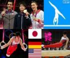 Podio gimnasia artística masculina concurso completo individual, Kohei Uchimura (Japón), Marcel Nguyen (Alemania) y Danell Leyva (Estados Unidos) - Londres 2012 -