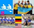 Podio remo cuarto scull femenino, Ucrania, Alemania y Estados Unidos - Londres 2012 -