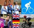 Podio ciclismo contrarreloj masculino, Bradley Wiggins (Reino Unido), Tony Martin (Alemania) y Christopher Froome (Reino Unido) - Londres 2012 -