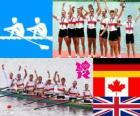 Podio remo 8 con timonel masculino, Alemania, Canadá y Reino Unido - Londres 2012 -